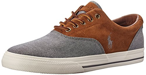 Polo Ralph Lauren Men's Vaughn Saddle Fashion Sneaker, Grey/New Snuff, 11 D US