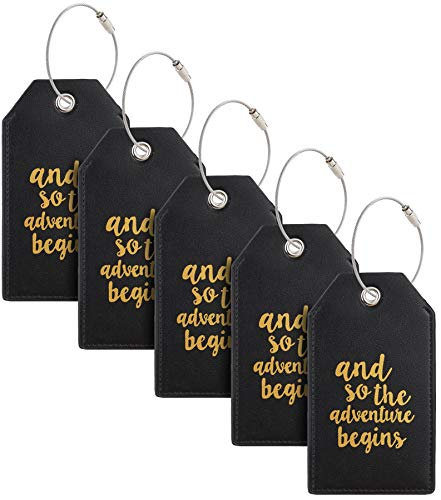 Casmonal Luggage Tags with Full Back Privacy Cover w/Steel Loops (black 05 pcs set)