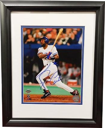 Joe Carter Autographed Photograph - 16X20 Custom Framing 1993 World Series Swinging) - Autographed MLB Photos