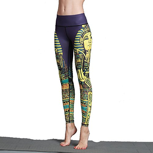 Mannerg Spring New Sports Fitness Yoga Trousers Printed Yoga Pants a Generation,Small,Hk46