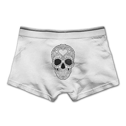 High Elastic Men's Boxer Brief Skull Black & White Cotton Soft Underwear ()