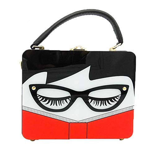 KJDFN Ladies Acrylic Square Character Glasses Styling Panel Banquet Party Bag Imitation Belt Shoulder Messenger Bag Wedding Banquet Holiday Pack Evening Bags for Women Luxurious (Color : White)