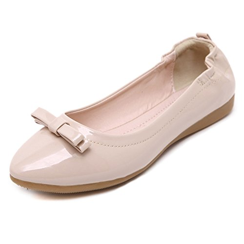 CHFSO Womens Sweet Bow Knot Flats Pointed Toe Boat Pumps Shoes Apricot ULMziz