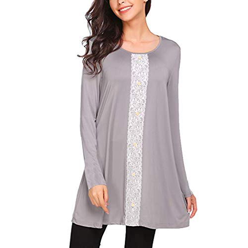 Price comparison product image Tunic Blouse Women Casual Loose Lace Patchwork Tops Flowy Plain Shirt