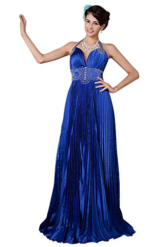 und V Blau mit BRIDE Perlen Ausschnitt GEORGE besetzt Rueschen Abendkleid Tiefe Halfter qpO1wSHa
