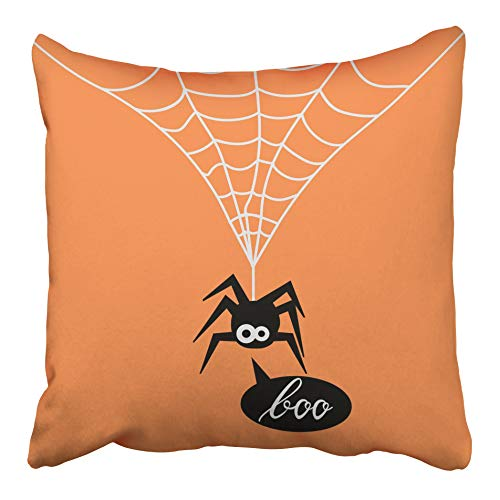 Emvency Decorative Throw Pillow Case Cushion Cover Animal Cute Spider on Orange of for The Halloween Party Say Boo Arachnid Black 18x18 Inch Cases Square Pillowcases Covers Two Sides Print