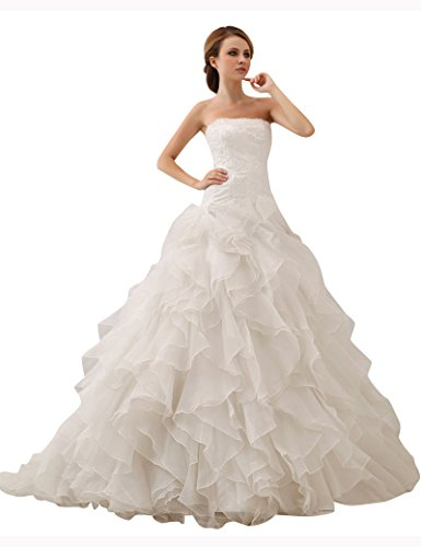 JOLLY BRIDAL Organza Off-Shoulder Ball Gown Wedding Dress, White, Size 4