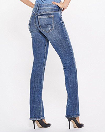Silver Jeans Co. Women's Suki Curvy Fit Mid Rise Slim Bootcut, Medium Indigo, 28Wx 33L by Silver Jeans Co.