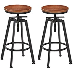 "VILAVITA 2-Set Bar Stools, 25.8"" to 31.8"" Adjustable Height Swivel Counter Height Bar Chair, Retro Finish Industrial Style Wood Barstools"