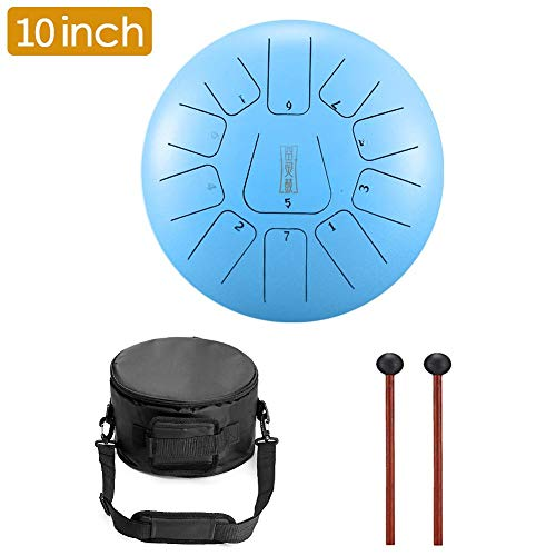 Niome Steel Tongue Drum 11 Notes 10 Inches Tank Drum, Handpan Drum, Chakra Drum, Percussion with Padded Travel Bag and Mallets