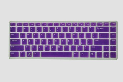 Silicone Laptop Keyboard Cover Skin Protector for Dell XPS L502 L502x, Inspiron M5040 N5040 N5050 N4110 N4120 N4050 N411z 7520 5420, Vostro 3350 V3350 3450 V3450 V3460 3550 3555 V1440 V1450 V131 US Layout (Purple Semitransparent)