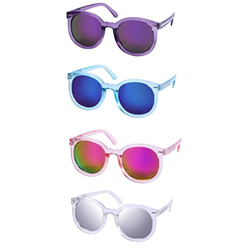 WODISON Womens UV400 Protected Classic Mirrored Lens Clear Frame Party Sunglasses in Bulk Lot 4 Pack(4 Color)