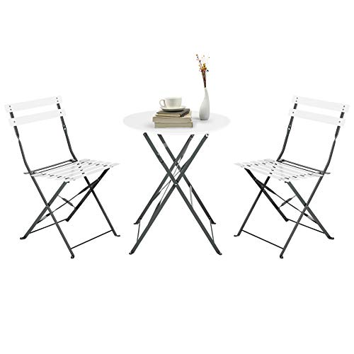 CO-Z Premium Steel Patio Bistro Set, Folding Outdoor Patio Furniture Sets, 3 Piece Patio Set of Foldable Patio Table and Chairs, White by CO-Z