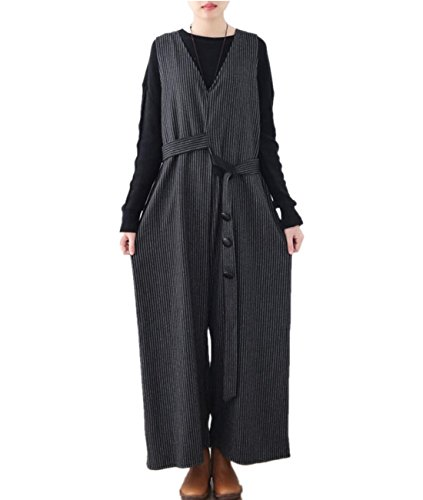 YESNO PH5 Women Long Loose Cotton Wool Warm Jumpsuits Overalls High Waist Wide Leg Pinstripes Side Pockets Asymmetrical Belt With Button (Black, One Size) (Suit Wool Pant Pinstripe)