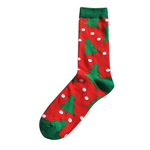 Clearance! Christmas Socks For Women Knee High,Mens Winter Warm Cartoon Printed Cotton Socks Christmas Xmas Gift Breathable,