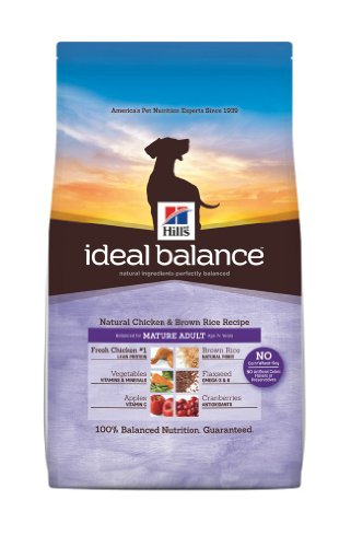 Hill's Ideal Balance Chicken and Brown Rice Recipe Mature Adult Dogs Dry Food Bag, 30-Pound, My Pet Supplies