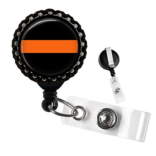 Search and Rescue Thin Orange Line Black Retractable Badge Reel ID Tag Holder by Geek Badges