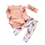 Baby Girl Pink Ruffle Long Sleeve Bodysuit Tops Flamingo Pants and Headband 3Pcs Outfits Set (6-9 Months)