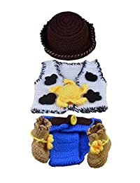 Cute Infant Baby Cowboy Crochet Knitted Costume Photo Photography Prop (0-6 Months)