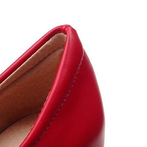 Allhqfashion Dames Pu Hoge Hakken Ronde Dichte Teen Stevige Rits Pumps-schoenen Rood