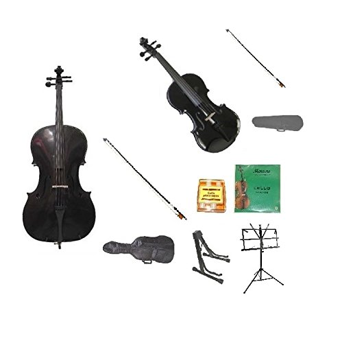 Merano 1/16 Size Black Cello with Bag and Black Bow+Rosin+Extra Set of Strings+Tuner+Cello Stand+Music Stand+1/16 Size Black Violin with Black Bow and Case by Merano