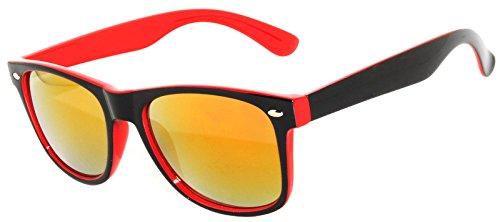 New Stylish Retro Vintage Two -Tone Sunglasses Red-Black frame Mirror lens