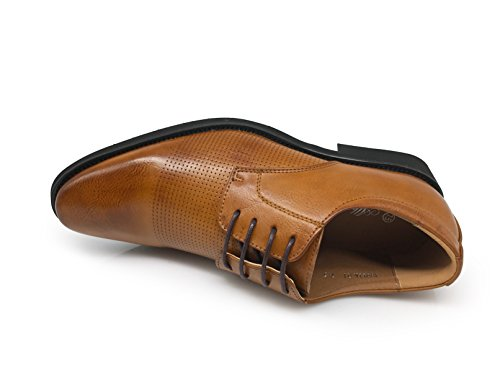 Enzo Romeo Just1 Mens Business Laser Perforerade Derby Oxfords Klassiska Finskor Brun