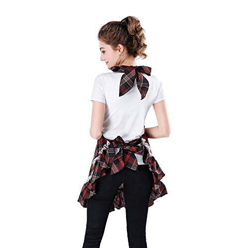 Natuloth 100% Cotton Cooking Kitchen Adjustable Apron with Lovely Lace Pleated Hemline & Front Pocket for Women (Red)
