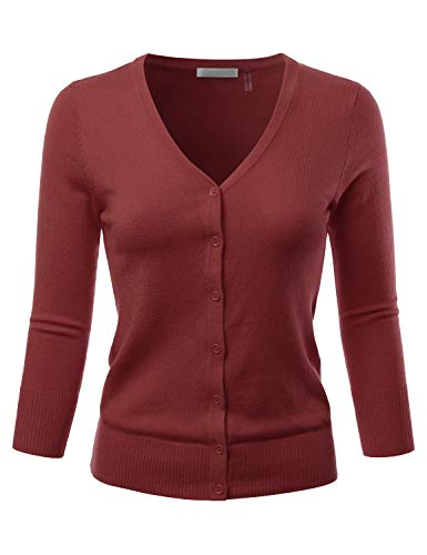 EIMIN Women's 3/4 Sleeve V-Neck Button Down Stretch Knit Cardigan Sweater Rust - V-neck Basic Sweater