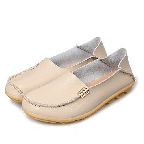 Shoes Beige Shoes Leather womens Driving Lucksender Lucksender Loafers Boat womens q8w4XR