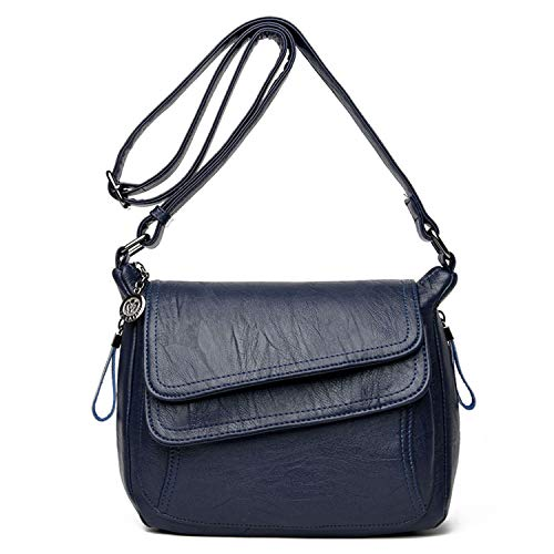 MiYi Leather Crossbody Bags for Women Casual Hobo Shoulder Bag Purse Handbag Tote Bags Ladies Crossbody Purses (Navy Blue) ()