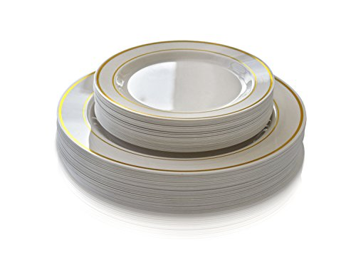 """ OCCASIONS "" 50 piece (25 guest) Disposable Dinnerware Set - Wedding Plastic Plates for 25 guests - (25 x 10.5'' plates + 25 x 7.5'' plates, in Ivory with Gold Rim)"