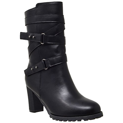 Womens Mid Calf Boots Strappy Buckle Accent Stacked Chunky Heel Shoes KSC-WB-M30 Nappa Black