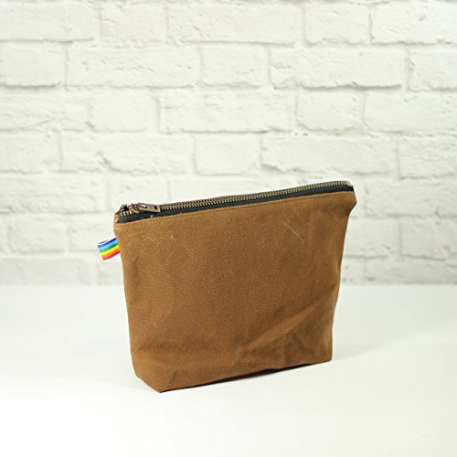 Brown Waxed Canvas Bag with Brass Zipper