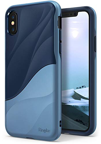 Ringke Wave Case Compatible with iPhone X iPhone 10, Qi Wireless Charge Compatible Dual Layer Heavy Duty Textured Shock Absorbent Drop Resistant Protection Design Cover - Coastal Blue