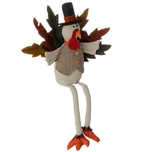 RAZ Imports Camp Harvest Plush Turkey Shelf Sitter Thanksgiving Home Decoration, 24 Inch