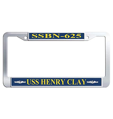 Hensteelna USS Henry Clay SSBN-625 Stainless Steel Car Tag Frame U.S. Navy Naval Vessel Car Plate Frame(1 pic, 6' x 12' - Henry Clay Uss