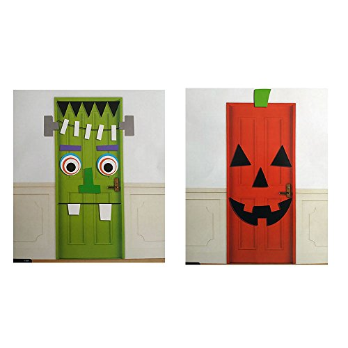 Halloween Green Monster and Pumpkin Jack-O-Lantern Door Decorations with Die-Cut Pieces - set of (Frankenstein Halloween Door)