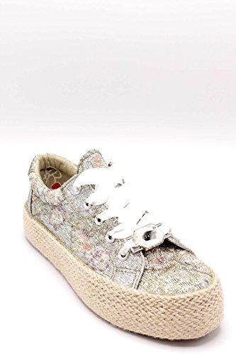Cafènoir Dh904 Multicipria Scarpa Donna Sneakers Allacciata In Tessuto Lurex Argento