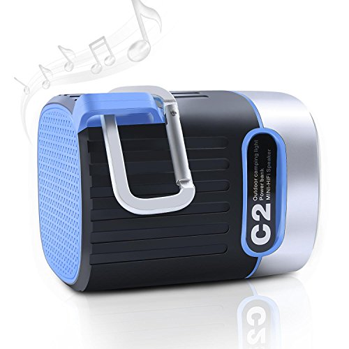 Upgraded Mini C2 Portable Bluetooth Speaker, Outdoor Stereo Speaker 2.92.94inch 4000mAh 3 Modes LED Light, Charge Power Bank and SOS Clock with HD Audio for Camping, Hiking, Biking and Travel