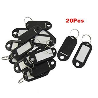 20 Pcs Assorted Color Key ID Label Tags Split Ring Keyring Keychain