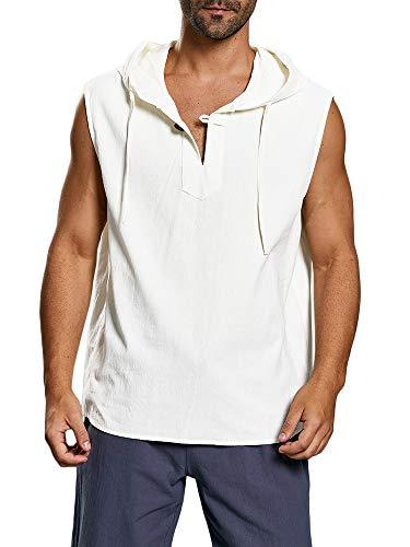 Taoliyuan Men Lace up Sleeveless Shirt Linen V Neck Casual Summer Beach Pool Party Yoga Tank Top (Medium, -
