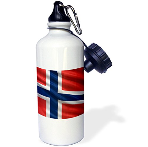 - 3dRose Flag of Norway Waving in The Wind-Sports Water Bottle, 21oz (wb_180285_1), 21 oz, Multicolor