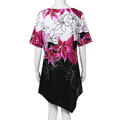 Manches Vetement Irregular Courtes Taille Vintage Chemisiers Asymmetric V Tunique Fleur Shirts Grande Large Pink Tops Cou Loisir Shirt T Basic Mode Et Femme Imprim tWqBUn6z8n