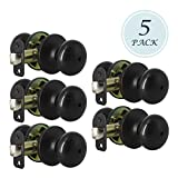 Round Shape Door Knob Privacy Bed and Bath Lockset, Oil-Rubbed Bronze Finish, Interior Door Use for Bedroom/Bathroom, 5 Pack
