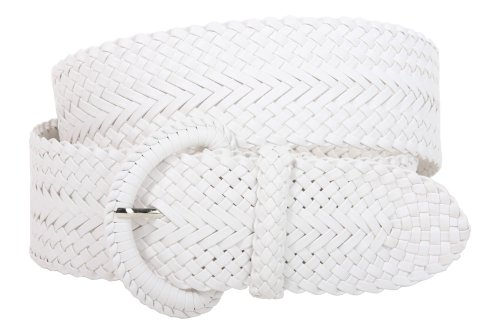 2 Inch Wide Hand Made Soft Metallic Woven Braided Round Belt Color: White Size: L/XL - 45 END-TO-END (Braided Metallic Leather Belt)