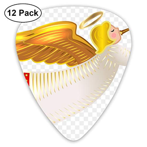 Christmas Nativity Angel Cherub Blow The Horn Small Medium Large 0.46 0.73 0.96mm Mini Flex Assortment Plastic Top Classic Rock Electric Acoustic Guitar Pick Accessories Variety Pack