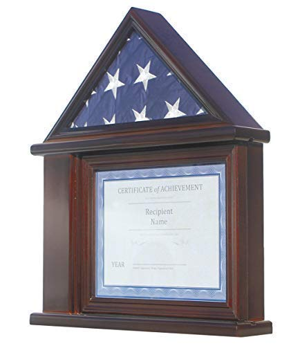 Flag Display Case Certificate & Document Holder Frame Military Shadow Box, for 3' X 5' Flag only. (Walnut)