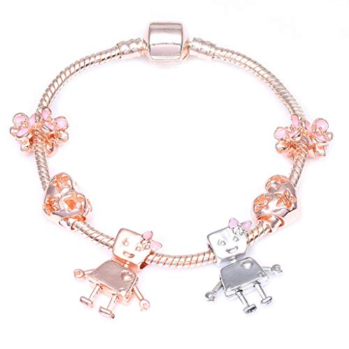 Zcxss Fashion Rose Gold Silver Friendship Pan Bracelet with Little Bella Beads Charms Bracelet Ladies Ethnic Jewelry Rose Gold 21cm