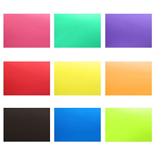 Neewer 9 Pieces Flash Lighting Gel Filter Kit with 9 Different Colors - 12x8.3 inches Transparent Color Correction Lighting Film Plastic Sheets